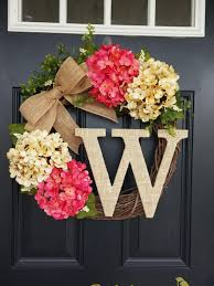 summer wreaths for front doorSummer Wreath Monogram Wreath Hydrangea by SimplySundayShop