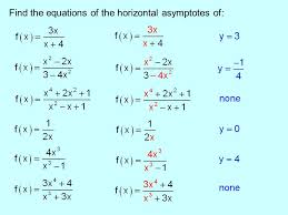 3 find the equations of the horizontal asymptotes of