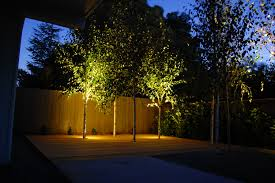tree lighting ideas. Choose Your Best Outdoor Lighting For Garden Ideas: Wooden Fencing Design Ideas With Tree