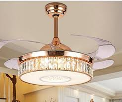 42 invisible remote control led ceiling fan light crystal chandelier lamp