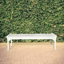 bradley eco friendly 5 foot backless outdoor white wood garden bench free today com 18163675