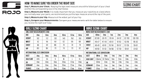 Girls Size Chart Size Charts Rojo Outerwear Australia Snow Gear Sizing