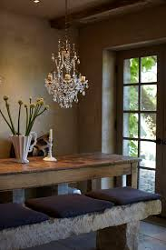 crystal dining room chandeliers. Love The Stone Bench, With Old Farmhouse Table And Crystal Chandelier! Dining Room Chandeliers
