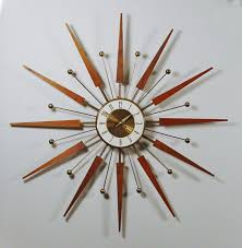 mid century modern starburst wall clock by elgin atomic design