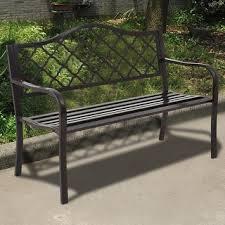 black iron outdoor furniture. plain iron costway 50u0027u0027 patio garden bench loveseats park yard furniture decor cast  iron frame black on outdoor c