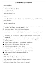 Sample Adult Education Teacher Resume Template