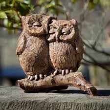 campania international large horned owl cast stone garden statue hayneedle