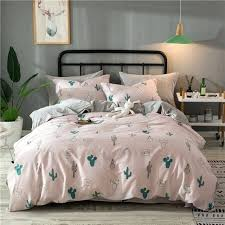 flannel duvet cover king size cute pink quilt cover cactus pattern bedding set flannel cotton winter