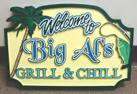 rb27215 tropical bar and grill sign with fish palm tree