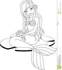 Mermaid Coloring Page Stock Vector Illustration Of Lotus 42390001