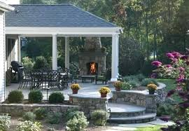 Outdoor Fireplace Designs Stone Patio Designs For Outdoor Fireplaces
