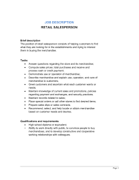Customer Service Job Description Retail Retail Salesperson Job Description Template Word Pdf