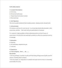 Golf Caddy Resume Format Download
