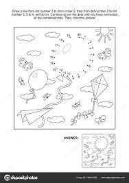Verbind Stippen Afbeeldingspuzzel Kleurplaat Met Ballonnen Papier