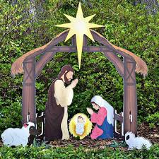Holy Night Printed Outdoor Nativity Set Teak Isle » Sets - American Made. Manufactured from