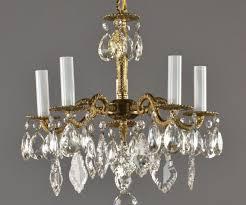 spanish brass crystal chandelier c1950 vintage antique