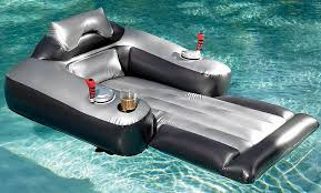 a motorized inflatable pool lounger creates total relaxation by propelling you around the entire swimming pool