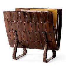 Woven Leather Magazine Rack
