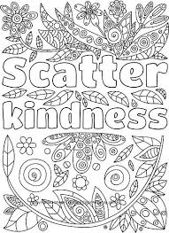 Scatter Kindness Adult Coloring Page Words To Color Coloring