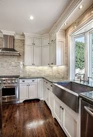 off white painted kitchen cabinets. Off-White Kitchen Cabinets With Brick Backsplash Off White Painted