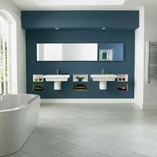 perfect navy blue accents wall paint for minimalist bathroom design idea feat white freestanding bathtub and