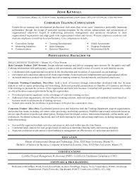 Corporate Resume Examples Training Consultant Resume Sample Training