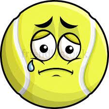 Teared Up Sad Tennis Ball Emoji