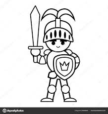 coloring book children knight stock vector