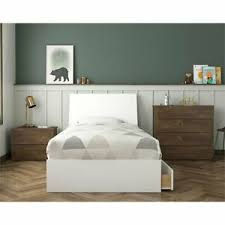 Nexera Compass 3 Piece Twin Panel Bedroom Set in Truffle and White ...