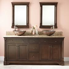 claudia double vessel sink vanity  antique coffee  bathroom