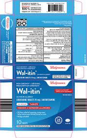 Wal Itin Dosage Chart Wal Itin Tablet Walgreen Company