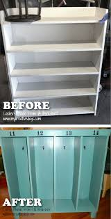 turn an old bookshelf into lockers for the kid awesome upcycle ideas