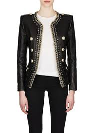 balmain women s chain embellished leather double ted jacket