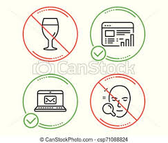 Web Report E Mail And Beer Glass Icons Set Face Search Sign Graph Chart New Message Brewery Beverage Vector