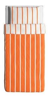ikea tuvbracka twin duvet cover pillowcase set orange white stripe tuvbrÄcka