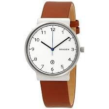 skagen ancher white dial cognac leather men s watch skw6433