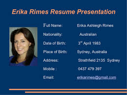 Erika Rimes Resume Powerpoint Gorgeous Resume Powerpoint