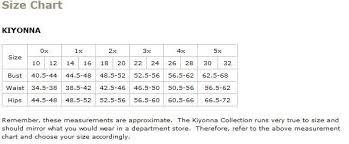 Kiyonna Dress Size Chart Kiyonna Plus Size Chart Via 6pm In 2019 Brand Names Size