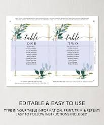 Wedding Seating Chart Template Printable Seating Cards Table Arrangement Seating Cards Seating Chart Display Garden Greens