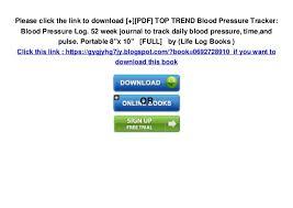 Track My Blood Pressure Pdf Top Trend Blood Pressure Tracker Blood Pressure Log 52 Wee