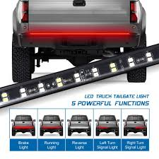 Truck Tailgate Lights Fuguang 60 2 Row Truck Tailgate Light Bar 5 Function Flexible Strip Lights 216leds High Brightenss White Red For F150 Dodge Gmc 1yr Warranty