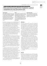 Pdf Risk Assessment Of Psychiatric In Patients Audit Of