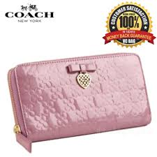 coach f46896 chelsea embossed patent bow accordion zip wallet