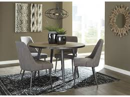 coverty light brown round dining table set