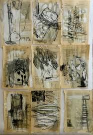 artist s book zeichnungen drawing with charcoal on pages from various text books that i had prepared with