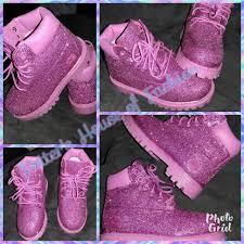 Custom Design Timberland Boots Baby Toddler Girl Pink Custom Glitter Timberland Boots