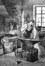 Ilustración de Herrero En El Taller De Martilleo En El Yunque y más  Vectores Libres de Derechos de 1890-1899 - iStock