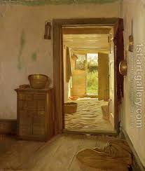 open door painting. Farmhouse Interior With An Open Door Gustav Vermehren Reproduction | 1st Art Gallery Painting P