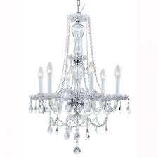 hampton bay lake point 6 light chrome and clear crystal chandelier in chandeliers charlotte nc