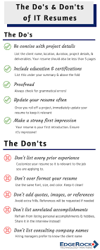 Resume Dos And Don Ts The Do's And Don'ts Of IT Resumes 12